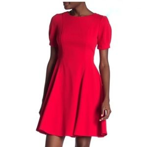 Eliza j fitted puff sleeve holiday red dress new